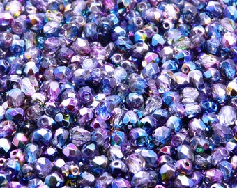 100pcs Czech Fire-Polished Faceted Glass Beads Round 4mm Magic Blue-Pink (4FP013)