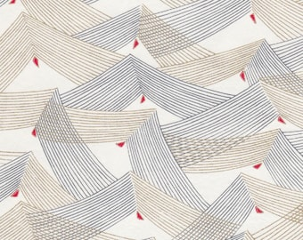 Chiyogami or yuzen paper - waves of kite wings, slate grey and metallic gold with crimson red accents, 9x12 inches