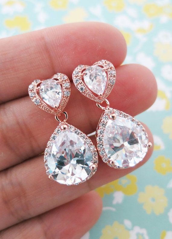 Rose Gold Teardrop Luxe Cubic Zirconia Heart Earring - gifts for her, earrings, bridal gifts, drop, dangle, pink gold weddings