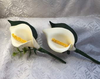 Foam Calla Lily Buttonholes Boutonierres x 2 - Ivory - Groom Best man Ushers Groomsmen Buy 2 Get 1 Free!