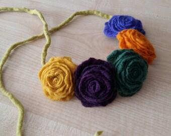 Wool Felt Necklace Felt Flower Poppy Necklace Merino wool Organic Wet felting Bib necklace Wool  Felt flower Natural jewelry Flower necklace