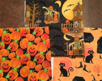 Halloween Cotton Fabric Lot - 2 yards Total
