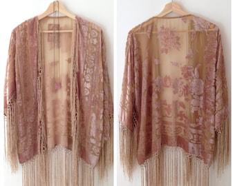 Silk Burnout Kimono Women Boho Kimono Gypsy Fringe Kimono Floral Kimono Cardigan Wedding Kimono Jacket Powder