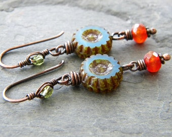 Periwinkle Blue Carnelian Copper Earrings Dark Orange Lime Green Glass Wheel Long Dangle Artisan Jewelry