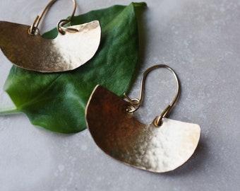 Ubud Brass Earrings // Hammered Texture