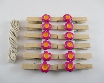 12 clips linens, pink and orange flower, Scrapbooking, embellishment, kids activities.