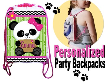 "Panda Party, 10 Party Backpacks, Panda Drawstring Backpack, Panda Favor Bags,8""x11""inches"