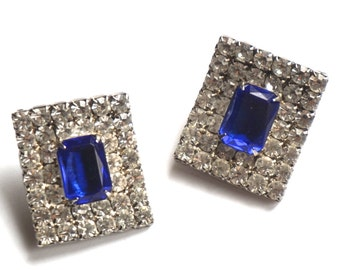 Large Rhinestone Clip On Earrings,Runway Earrings,September Birthstone,Something Blue,Bold Chunky Statement Earrings,Wedding Jewelry