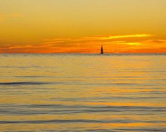 Sailboat Sunset, yellow art photo print, Lake Michigan picture, large canvas, nautical photography, square wall decor 8x10 11x14 16x20 30x45