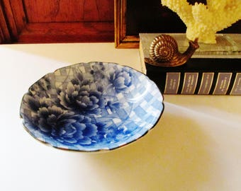Takahashi Chinoiserie Dish, Accent Bowl, Entry Table Decor, Blue and White Porcelain Catchall, Palm Beach Decor, Coffee Table Decor