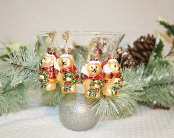 Colorful Christmas Bear Earrings Christmas Ornament Earrings Cute Holiday Bear Earrings Gifts for Her Gifts Under 15 Dollars