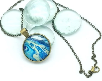 Wearable Art Painted Glass Cabachon Pendant Blue Aquamarine and Yellow Flowing Glacier Pendant Layering Necklace 2018 Trend
