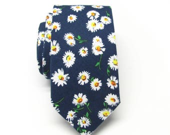 Cotton Mens Tie. Cotton Navy Blue White Yellow Floral Skinny Tie With Matching Pocket Square Option