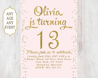 13th birthday invitation for girl,pink gold teen birthday party invitations,blush pink gold glitter,14th,15th,16th,17th,18th,19th,Any Age 05