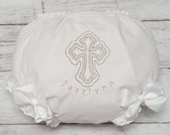 White and Silver Cross Personalized Christening Baptism Diaper Cover Bloomers NB Infant Toddler