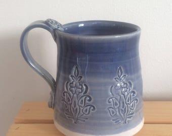 Ceramic Flower Mug, Handmade Pottery, Blue and White Mug, Gift for Gardener, Ready To Ship