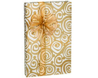 Golden Swirl  Gift Wrap Wrapping Paper-18ft Roll w. 20Gift Tags