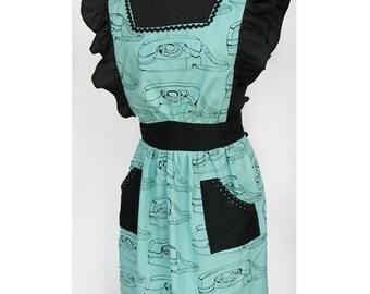 Retro Aqua Blue and Black PRINCESS TELEPHONES Lolita Full Bib Apron Size Medium for Domestic Gothic Goddess with POCKETS