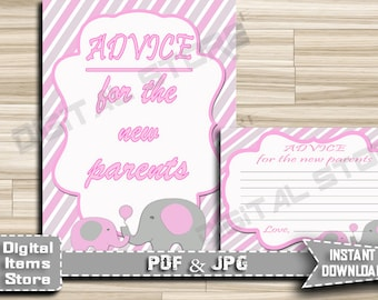 Advice For Parents To Be and Advice For Mommy To Be - Printable Advice Cards And Sign Baby Shower Elephant Pink - INSTANT DOWNLOAD - ep11