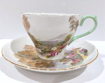 Shelley Tea Cup and Saucer, Shelley China, Shelley Tea Cups, Antique Teacups, Heather Pattern, English Bone China Cups, Scenic Cups