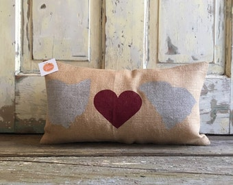 Pillow Cover | State Pillow | Choose 2 states | Burlap Pillow | Gift for Mom, Dad | Boyfriend | Graduation Gift | Moving Gift | Wedding Gift