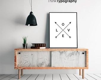 Love print, love poster, arrows, minimalist, poster, art, print, bedroom print, bedroom decor