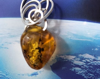 Heart Shaped Natural Amber Sterling Silver Wire Embellished Pendant