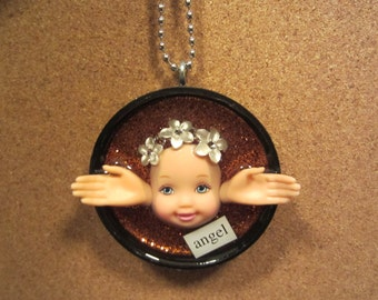 Angel  -  Upcycled Doll Pendant - copper