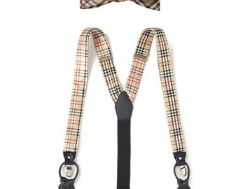 Jonathan Frederic Denny Silk Bow Tie and Silk Suspenders Set