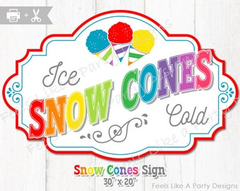 Snow Cone Sign - DIY Instant Download