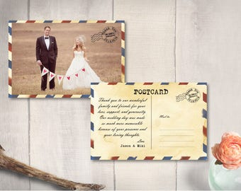 "Thank You Wedding Photo Postcard, Airmail Retro Thank You Card, Vintage Airmail Thank You Postcard, 4"" x 6"" PRINTS (Airmail II)"