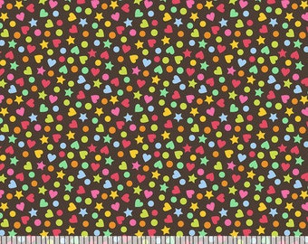 "END OF BOLT- 10""x44"" of Hundreds & Thousands of Chocolate Brown Sprinkles from Blend Fabric's Lolly Collection by Maude Asbury"