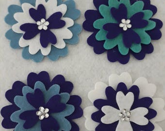 Flowers-  purple assortment pack of 4 with  a little sparkle.