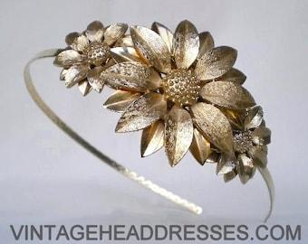Vintage Gold Flower Headpiece, Floral Gold Headband, Bridal Headpiece, Gold Flowers, Wedding Headband, Floral Headpiece, Sunflower, Daisy