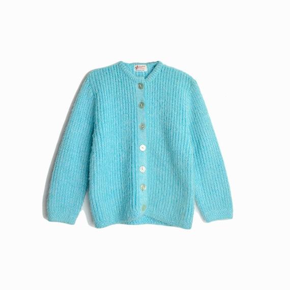 Vintage 70s Fuzzy Sky Blue Cardigan Sweater / Baby Blue Sweater - women's petite small