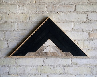 Reclaimed Wood Wall Art | Wood Decor  | Reclaimed Wood | Wood Art | Rustic Geometric| Wood Decor | Mountain | Triangle | Black