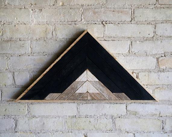 Reclaimed Wood Wall Art   Wood Decor    Reclaimed Wood   Wood Art   Rustic Geometric  Wood Decor   Mountain   Triangle   Black