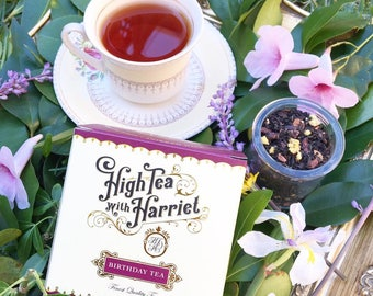 Birthday Tea blend - boutique loose leaf tea in hand-designed, vintage style packaging.