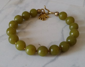APPLE GREEN JADE Bracelet with Big 10mm Lemon Jade Beads and Brass Hook & Eye Clasp. Available in all sizes! Mens Womens Unisex.