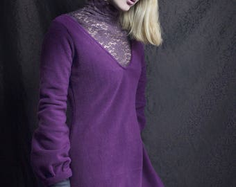 long plum fleece dress