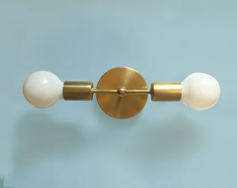 Double Sconce • Lillian • Double Sconce • Mid Century Modern Bathroom Light • Wall Lamp • Modern Brass Lighting • Double Sconce