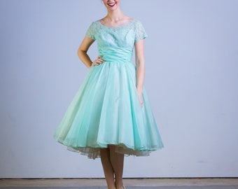 1950s Mint Green Party Dress 50's Cupcake Lace Full Skirt