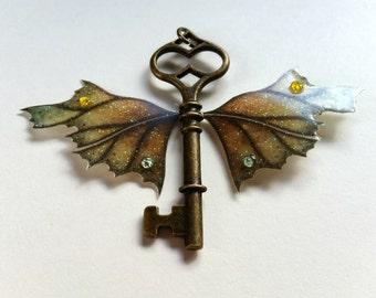 Magical Leaf Winged Key Pendant