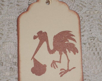 Baby Gift Tags - Stork with Baby Silhouette Gift Tags - Baby - Set of Six
