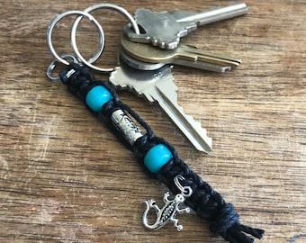 Lizard Black Hemp Keychain