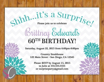 Purple Teal Surprise Birthday Invite for Girl Flower Burst Women's Teen Floral Party Invitation 5x7 Digital JPG Printable (482)