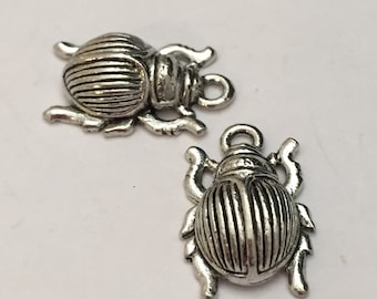 2 pc pewter beetle bug charm, insect charm, jewelry supplies