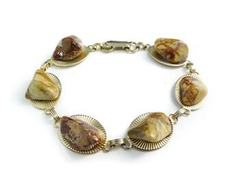 Vintage Semi Precious Stone Bracelet, Links, Gold Tone, STJ18
