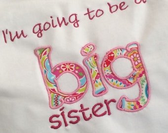 I'm going to be a Big Sister/Brother personalized shirts
