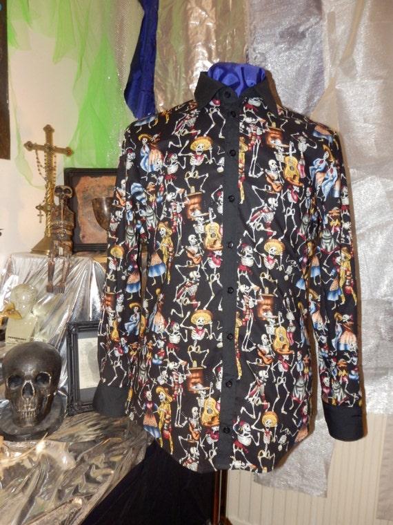Men's Dia De Los Muertos Shirt goth gothic punk rockabilly psychobilly menswear day of the dead halloween western costume TirkFaSixo